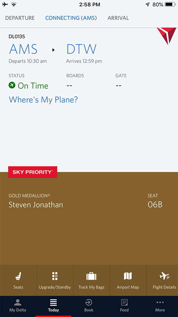 Delta One Suite - DL135 from AMS to DTW - Steven Jonathan